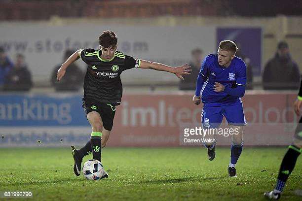 Mason Mount of Chelsea U18 and Cameron Ebbutt of Birmingham City U18 during a FA Youth Cup 4th Round match between Birmingham City and Chelsea at The...