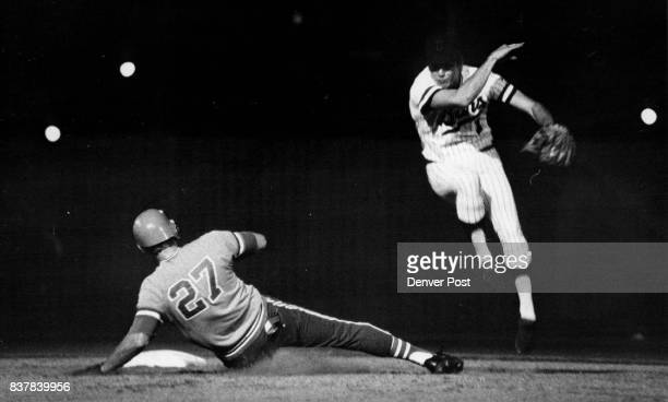Mason Pivotal Player on This Bear Double Play Denver Bear shortstop Jim Mason right gets away throw in time to get double play after Keith Lampard...