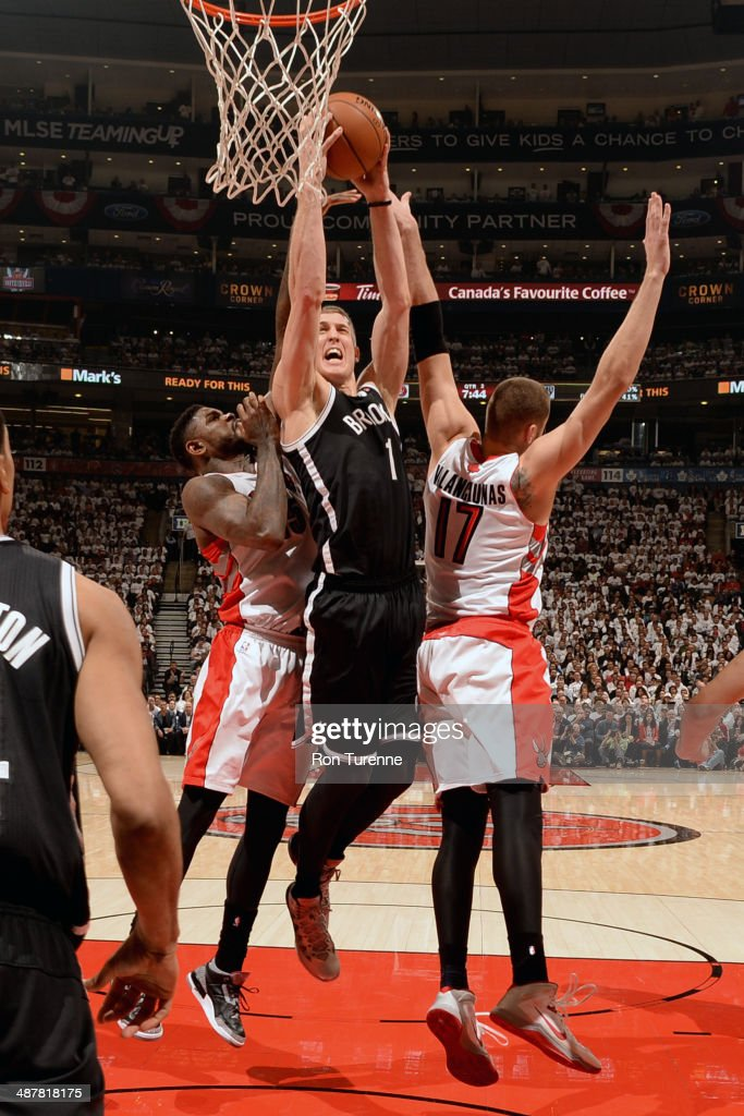 <a gi-track='captionPersonalityLinkClicked' href=/galleries/search?phrase=Mason+Plumlee&family=editorial&specificpeople=5792012 ng-click='$event.stopPropagation()'>Mason Plumlee</a> #1 of the Brooklyn Nets drives to the basket during Game Five of the Eastern Conference Quarterfinals Toronto Raptors during the 2014 NBA Playoffs on April 30, 2014 at the Air Canada Centre in Toronto, Ontario, Canada.