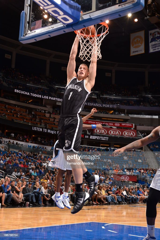 <a gi-track='captionPersonalityLinkClicked' href=/galleries/search?phrase=Mason+Plumlee&family=editorial&specificpeople=5792012 ng-click='$event.stopPropagation()'>Mason Plumlee</a> #1 of the Brooklyn Nets dunks against the Orlando Magic on November 3, 2013 at Amway Center in Orlando, Florida.