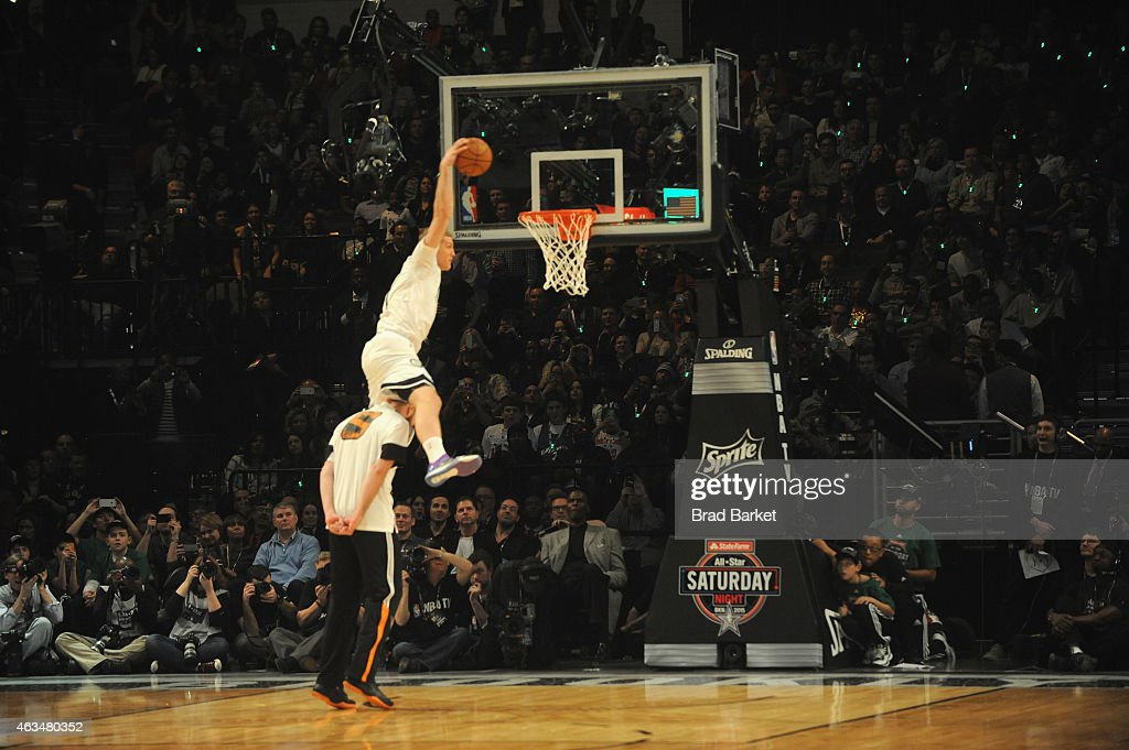 <a gi-track='captionPersonalityLinkClicked' href=/galleries/search?phrase=Mason+Plumlee&family=editorial&specificpeople=5792012 ng-click='$event.stopPropagation()'>Mason Plumlee</a> of the Brooklyn Nets dunks during State Farm All-Star Saturday Night - NBA All-Star Weekend 2015 at Barclays Center on February 14, 2015 in New York, New York.