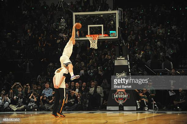 Mason Plumlee of the Brooklyn Nets dunks during State Farm AllStar Saturday Night NBA AllStar Weekend 2015 at Barclays Center on February 14 2015 in...