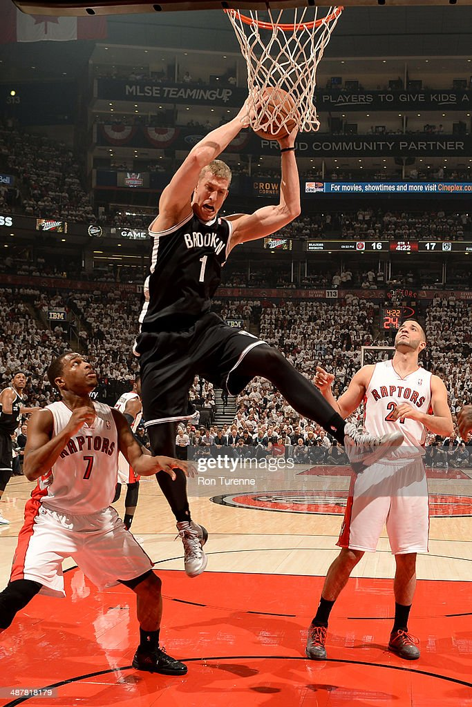 <a gi-track='captionPersonalityLinkClicked' href=/galleries/search?phrase=Mason+Plumlee&family=editorial&specificpeople=5792012 ng-click='$event.stopPropagation()'>Mason Plumlee</a> #1 of the Brooklyn Nets grabs a rebound during Game Five of the Eastern Conference Quarterfinals Toronto Raptors during the 2014 NBA Playoffs on April 30, 2014 at the Air Canada Centre in Toronto, Ontario, Canada.