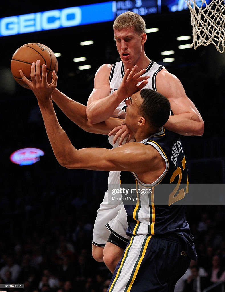 Mason Plumlee #1 of the Brooklyn Nets jumps to block Rudy Gobert #27 of the Utah Jazz during the second half at Barclays Center on November 5, 2013 in the Brooklyn borough of New York City. The Nets defeat the Jazz 104-88.