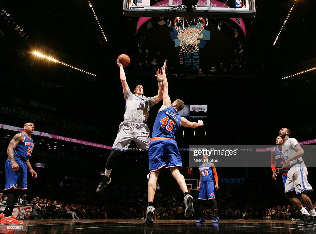 <a gi-track='captionPersonalityLinkClicked' href=/galleries/search?phrase=Mason+Plumlee&family=editorial&specificpeople=5792012 ng-click='$event.stopPropagation()'>Mason Plumlee</a> #1 of the Brooklyn Nets shoots against Cole Aldrich #45 of the New York Knicks during a game at Barclays Center in Brooklyn.