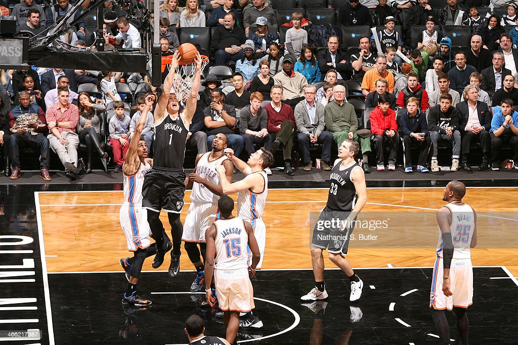 <a gi-track='captionPersonalityLinkClicked' href=/galleries/search?phrase=Mason+Plumlee&family=editorial&specificpeople=5792012 ng-click='$event.stopPropagation()'>Mason Plumlee</a> #1 of the Brooklyn Nets shoots against the Oklahoma City Thunder at the Barclays Center on January 31, 2014 in the Brooklyn borough of New York City.