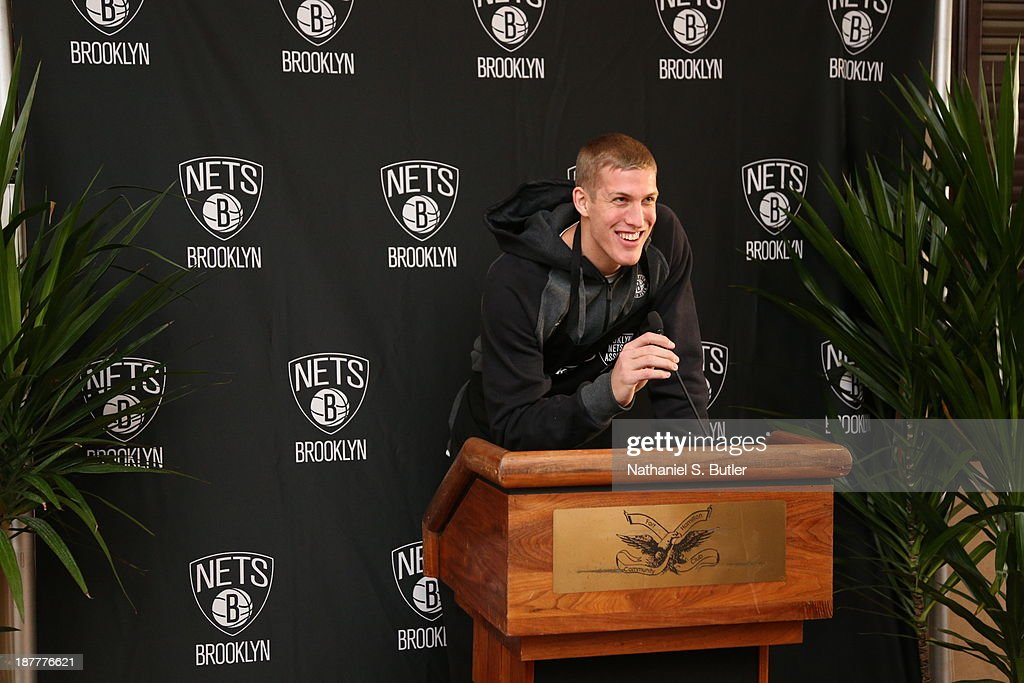 Mason Plumlee #1 of the Brooklyn Nets speaks during a team event in celebration of Veterans Day at Ft. Hamilton, Brooklyn on November 11, 2013 in the Brooklyn borough of New York City.