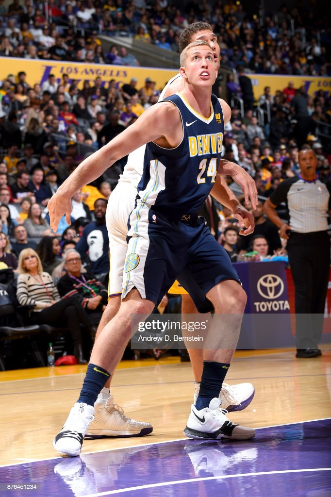 Mason Plumlee #24 of the Denver Nuggets boxes out against the Los Angeles Lakers on November 19, 2017 at STAPLES Center in Los Angeles, California.