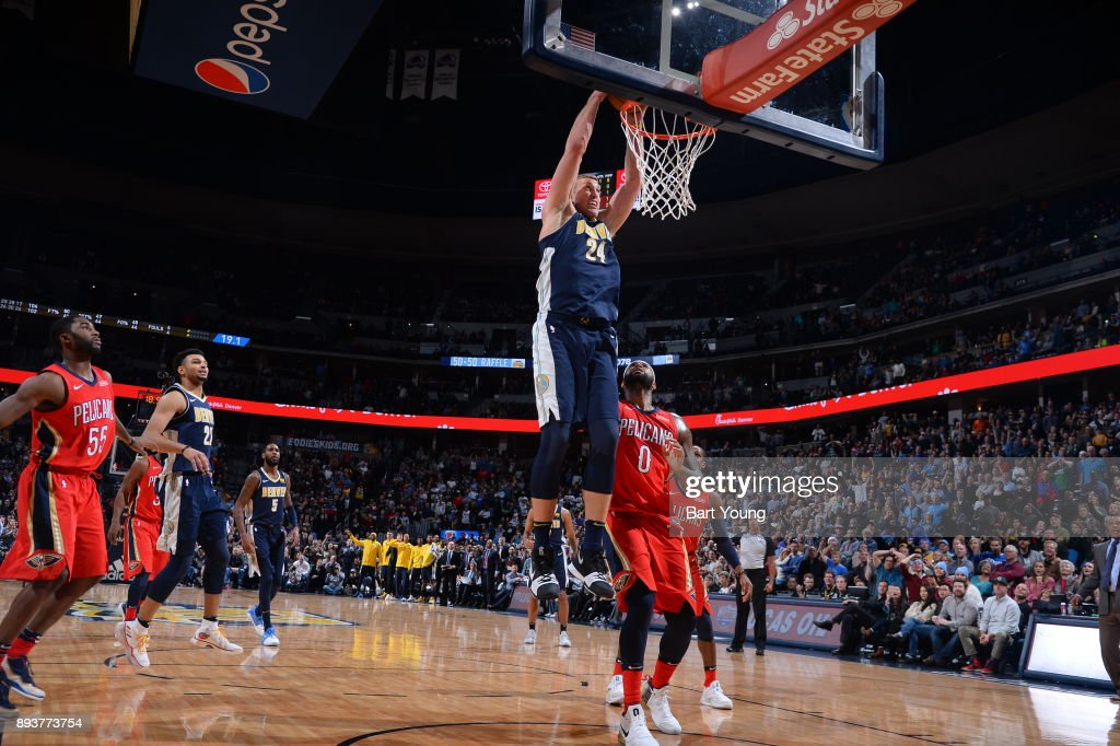 Mason Plumlee #24 of the Denver Nuggets drives to the basket against the New Orleans Pelicans on December 15, 2017 at the Pepsi Center in Denver, Colorado.