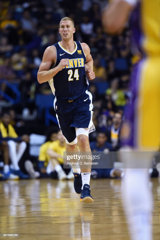 Mason Plumlee #24 of the Denver Nuggets runs up the court during the game against the Los Angeles Lakers on October 4, 2017 at Citizens Business Bank Arena in Los Angeles, California.