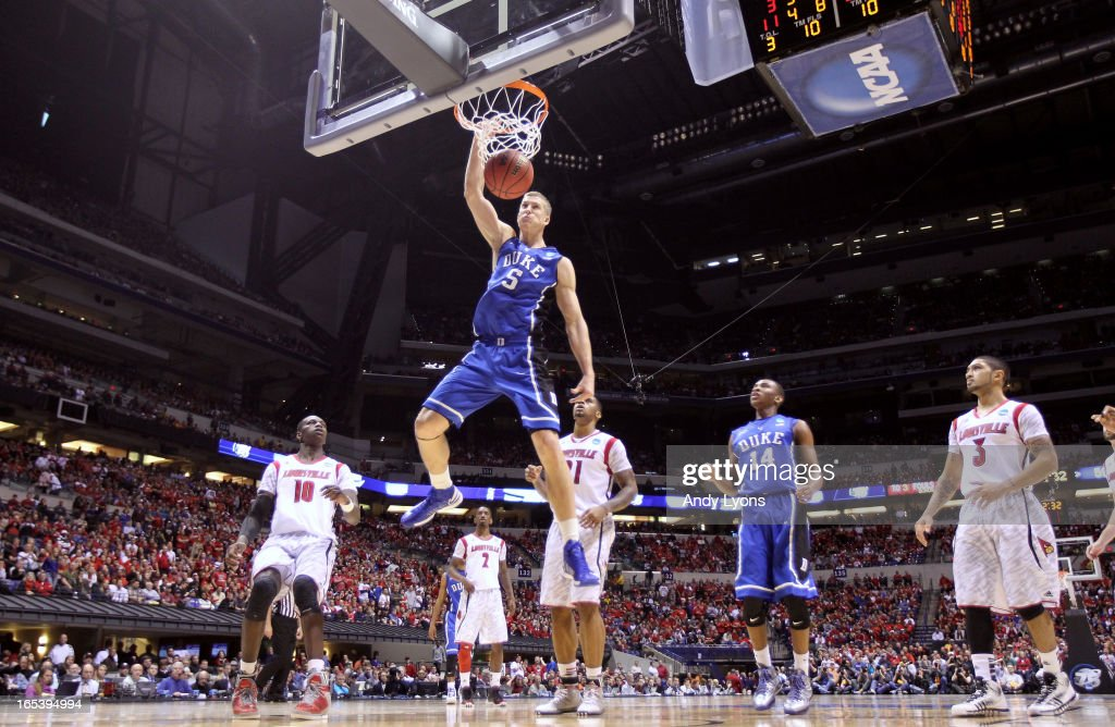 <a gi-track='captionPersonalityLinkClicked' href=/galleries/search?phrase=Mason+Plumlee&family=editorial&specificpeople=5792012 ng-click='$event.stopPropagation()'>Mason Plumlee</a> #5 of the Duke Blue Devils dunks against the Louisville Cardinals during the Midwest Regional Final round of the 2013 NCAA Men's Basketball Tournament at Lucas Oil Stadium on March 31, 2013 in Indianapolis, Indiana. Louisville won 85-63.