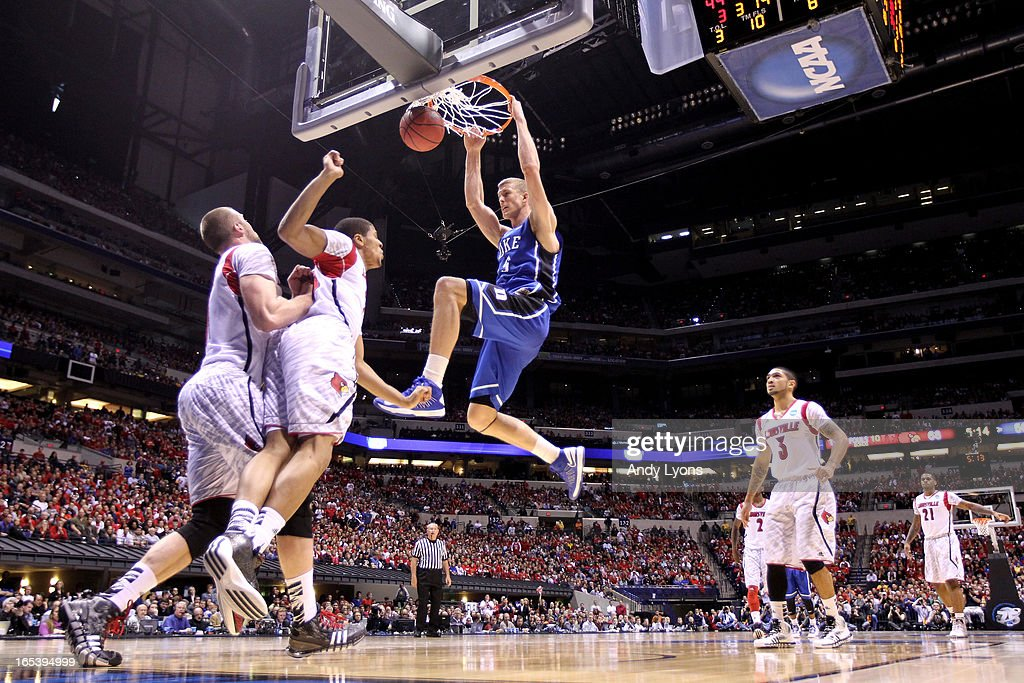 Mason Plumlee #5 of the Duke Blue Devils dunks against the Louisville Cardinals during the Midwest Regional Final round of the 2013 NCAA Men's Basketball Tournament at Lucas Oil Stadium on March 31, 2013 in Indianapolis, Indiana. Louisville won 85-63.