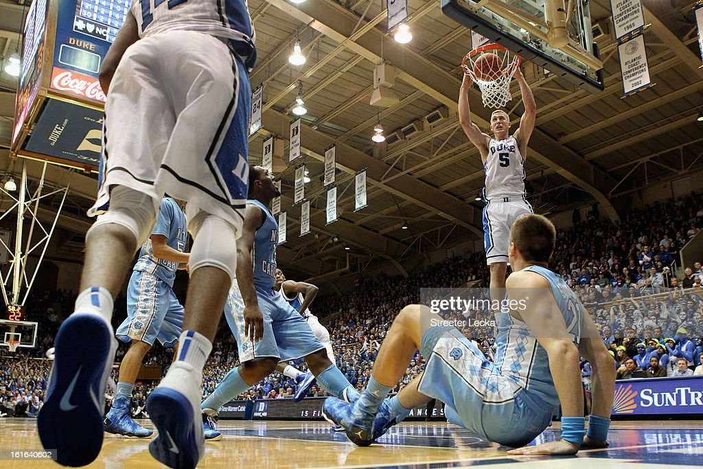 Mason Plumlee #5 of the Duke Blue Devils dunks the ball during their game against the North Carolina Tar Heels at Cameron Indoor Stadium on February 13, 2013 in Durham, North Carolina.