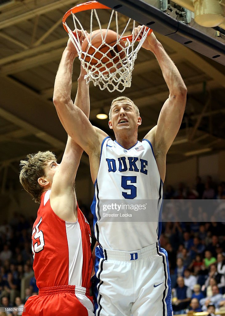 <a gi-track='captionPersonalityLinkClicked' href=/galleries/search?phrase=Mason+Plumlee&family=editorial&specificpeople=5792012 ng-click='$event.stopPropagation()'>Mason Plumlee</a> #5 of the Duke Blue Devils dunks the ball over Eitan Chemerinski #55 of the Cornell Big Red during their game at Cameron Indoor Stadium on December 19, 2012 in Durham, North Carolina.