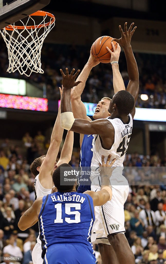 Mason Plumlee #5 of the Duke Blue Devils goes to the basket during their game against the Wake Forest Demon Deacons at Lawrence Joel Coliseum on January 30, 2013 in Winston-Salem, North Carolina.