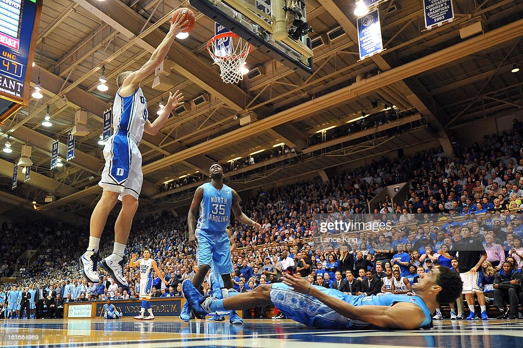 Mason Plumlee #5 of the Duke Blue Devils goes to the hoop against the North Carolina Tar Heels at Cameron Indoor Stadium on February 13, 2013 in Durham, North Carolina. Duke defeated North Carolina 73-68.