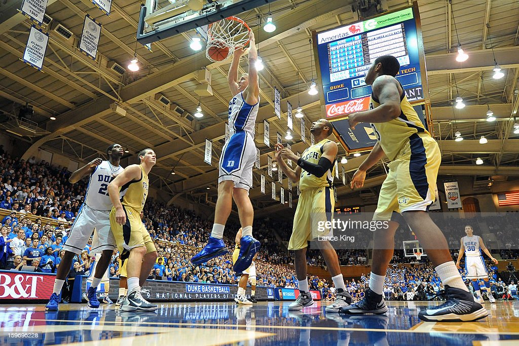 Mason Plumlee #5 of the Duke Blue Devils goes up for a dunk against the Georgia Tech Yellow Jackets at Cameron Indoor Stadium on January 17, 2013 in Durham, North Carolina. Duke defeated Georgia Tech 73-57.