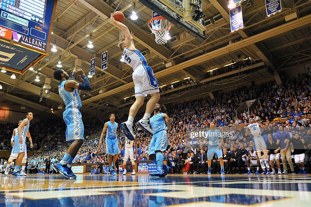 Mason Plumlee #5 of the Duke Blue Devils goes up to dunk against the North Carolina Tar Heels at Cameron Indoor Stadium on February 13, 2013 in Durham, North Carolina. Duke defeated North Carolina 73-68.