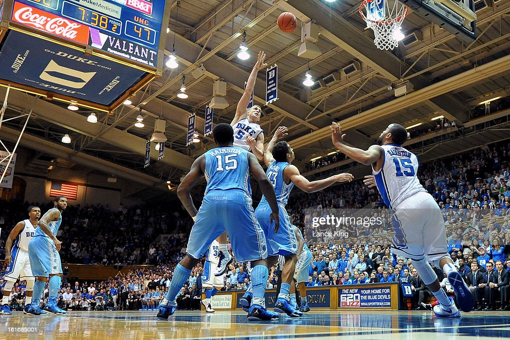 Mason Plumlee #5 of the Duke Blue Devils puts up a shot against the North Carolina Tar Heels at Cameron Indoor Stadium on February 13, 2013 in Durham, North Carolina. Duke defeated North Carolina 73-68.