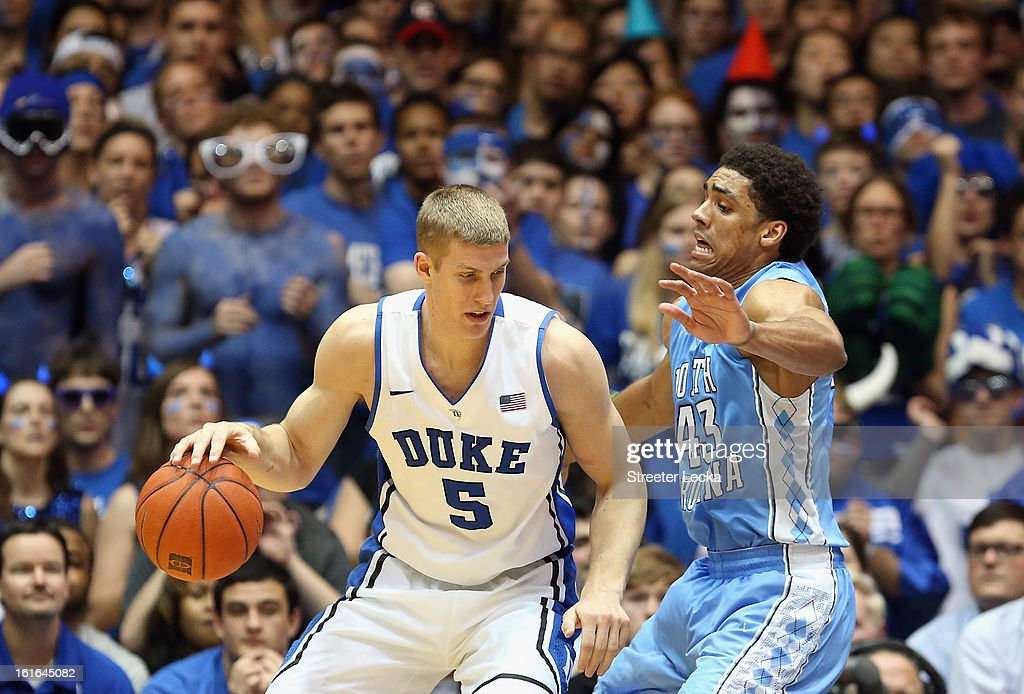 Mason Plumlee #5 of the Duke Blue Devils runs into James Michael McAdoo #43 of the North Carolina Tar Heels during their game at Cameron Indoor Stadium on February 13, 2013 in Durham, North Carolina.