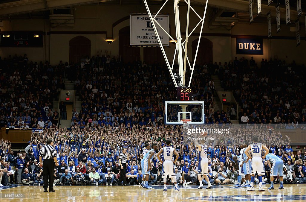 Mason Plumlee #5 of the Duke Blue Devils shoots a free throw during their game against the North Carolina Tar Heels at Cameron Indoor Stadium on February 13, 2013 in Durham, North Carolina.