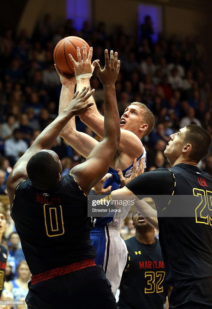 <a gi-track='captionPersonalityLinkClicked' href=/galleries/search?phrase=Mason+Plumlee&family=editorial&specificpeople=5792012 ng-click='$event.stopPropagation()'>Mason Plumlee</a> #5 of the Duke Blue Devils shoots the ball over Charles Mitchell #0 and Alex Len #25 of the Maryland Terrapins during their game at Cameron Indoor Stadium on January 26, 2013 in Durham, North Carolina.
