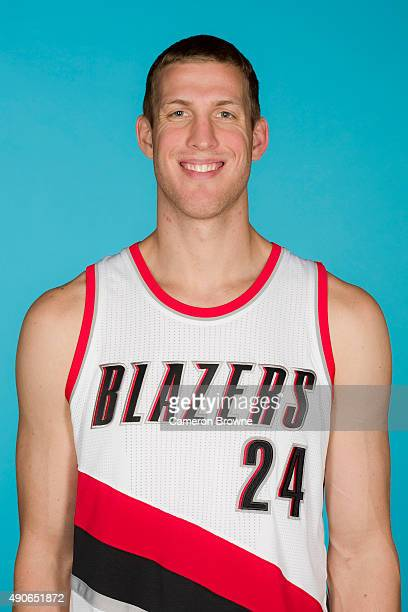 Mason Plumlee of the Portland Trail Blazers poses for a head shot during media day on September 28 2015 at the MODA Center Arena in Portland Oregon...
