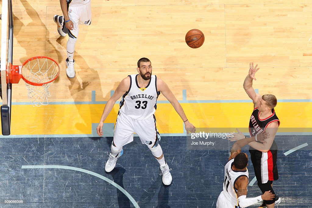 <a gi-track='captionPersonalityLinkClicked' href=/galleries/search?phrase=Mason+Plumlee&family=editorial&specificpeople=5792012 ng-click='$event.stopPropagation()'>Mason Plumlee</a> #24 of the Portland Trail Blazers shoots the ball against the Memphis Grizzlies on February 8, 2016 at FedExForum in Memphis, Tennessee.
