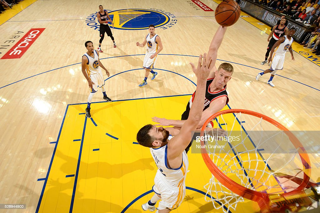 Mason Plumlee #24 of the Portland Trail Blazers shoots the ball during the game against the Golden State Warriors in Game One of the Western Conference Semifinals during the 2016 NBA Playoffs on May 1, 2016 at ORACLE Arena in Oakland, California.