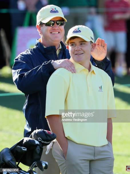 Mason Quagliata participant in the 1415 Boys celebrates his overall victory during the Drive Chip and Putt Championship at Augusta National Golf Club...