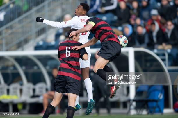 Mason Toye of Indiana University heads the ball against Stanford University during the Division I Men's Soccer Championship held at Talen Energy...