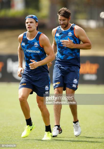 Mason Wood of the Kangaroos are seen during the North Melbourne Kangaroos training session at Arden St on November 15 2017 in Melbourne Australia