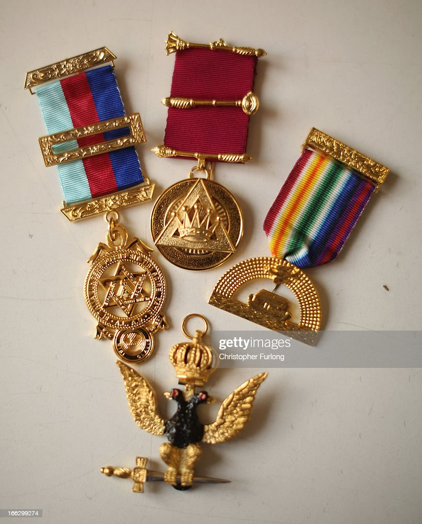 Masonic medals are on display at civil and military regalia manufacturers Toye Kenning And Spencer on April 10 2013 in Bedworth England Toye Kenning...