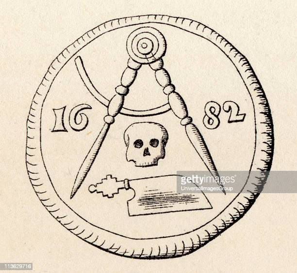 Masonic Seal Mereau funeraire of Carpenters of Maestricht Engraving from the book The History of Freemasonry Volume II Published by Thomas C Jack...