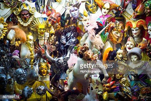 Masquerade masks in shop