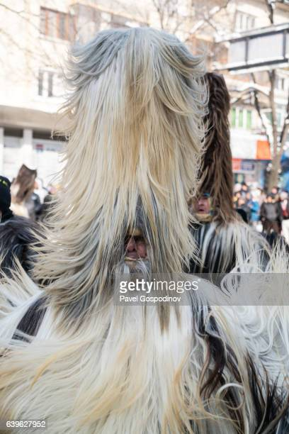 Masquerade Participant Wearing A Traditional Kukeri Costume With Only A Part Of His Face Visible During A Traditional Kukeri Festival