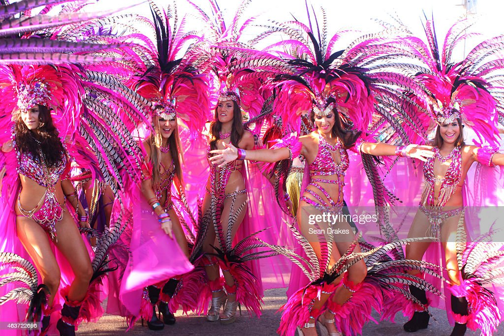 Masqueraders from the band 'Dominion of the Sun' by Harts perform in the Queen's Park Savannah during the Parade of Bands as part of Trinidad and...