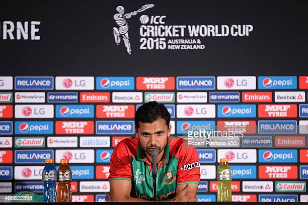 Masrafe Bin Mortaza of Bangladesh speaks to media during the 2015 ICC Cricket World Cup match between India and Bangladesh at Melbourne Cricket...