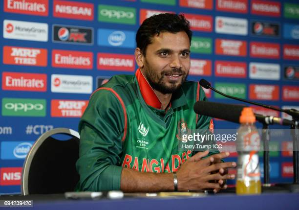 Masrafe Mortaza of Bangladesh looks on during the ICC Champions Trophy match between New Zealand and Bangladesh at the SWALEC Stadium on June 9 2017...