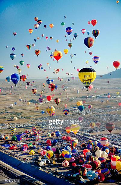Mass ascension of hot air balloons at the Albuquerque International Balloon Fiesta New Mexico USA