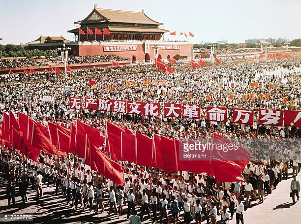 A mass demonstration on China's National Day October 1 outside the Gate of Heavenly Peace Tiananmen during the Cultural Revolution of the late 1960s