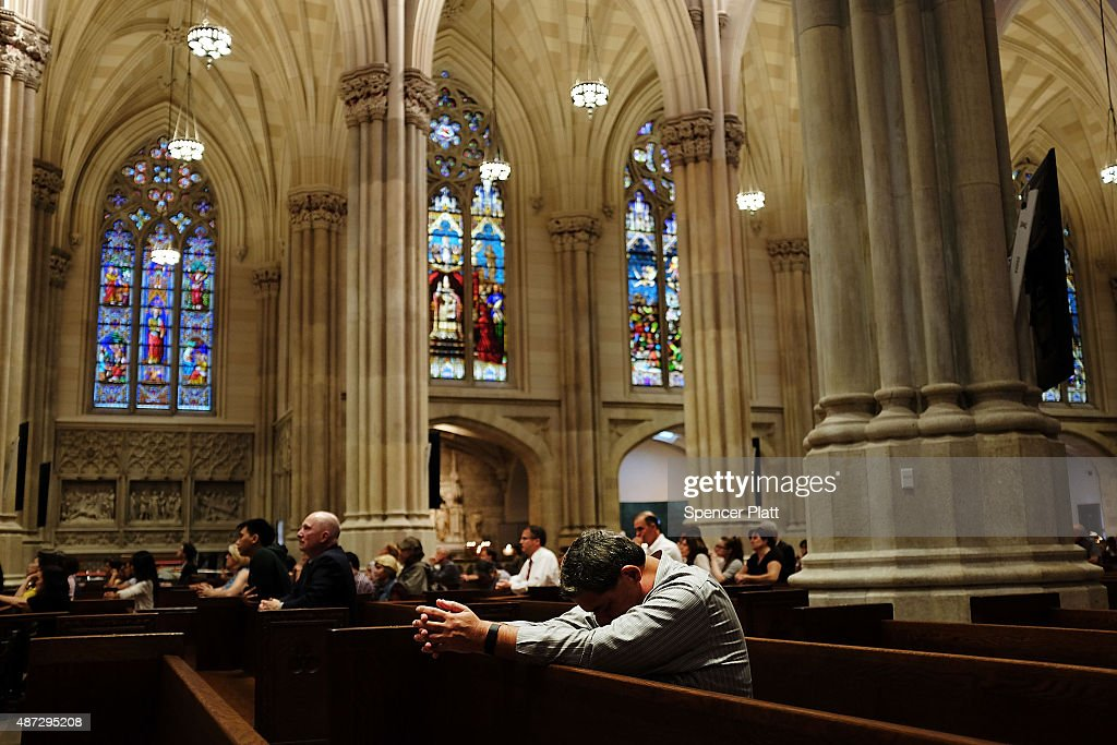 Mass is held at St Patrick's Cathedral the seat of the Roman Catholic Archdiocese of New York on September 8 2015 in New York City Just in time for...