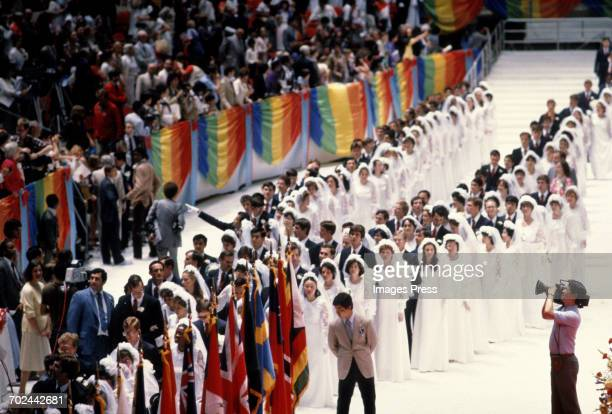 Mass Marriage Blessing Ceremony performed by the Unification Church at Madison Square Garden circa 1982 in New York City