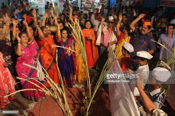 Mass Marriage of Tulsi Vivah celebration at Naralwala Chawl Jamblinaka market organised by Bal Gopal Mitra Mandal on November 2 2017 in Mumbai India...