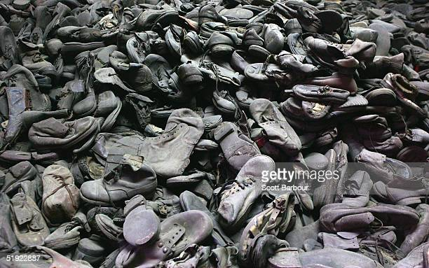 A mass of footware removed from the men women and children taken December 8 2004 is seen at the Auschwitz Concentration Camp Museum in Oswiecim...