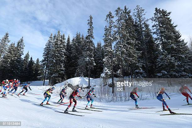 Mass start for the Women in the Biathlon Mixed Relay at Birkebeineren Biathlon Stadium during the Winter Youth Olympic Games on 21 February 2016 in...
