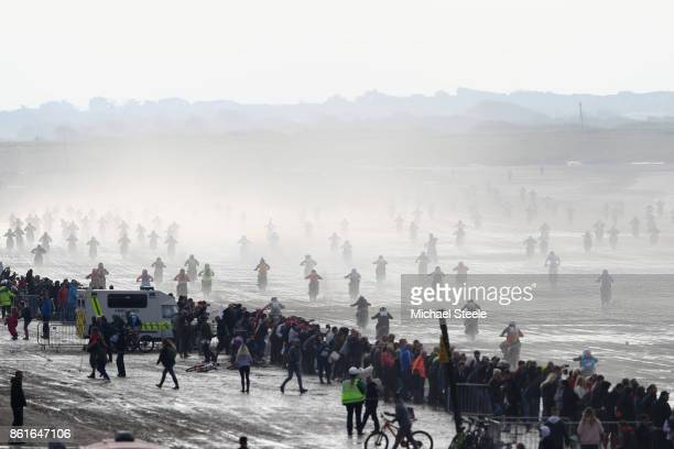 Mass start of the Adult Solo race during day two of the HydroGarden Weston Beach Race on October 15 2017 in WestonSuperMare England