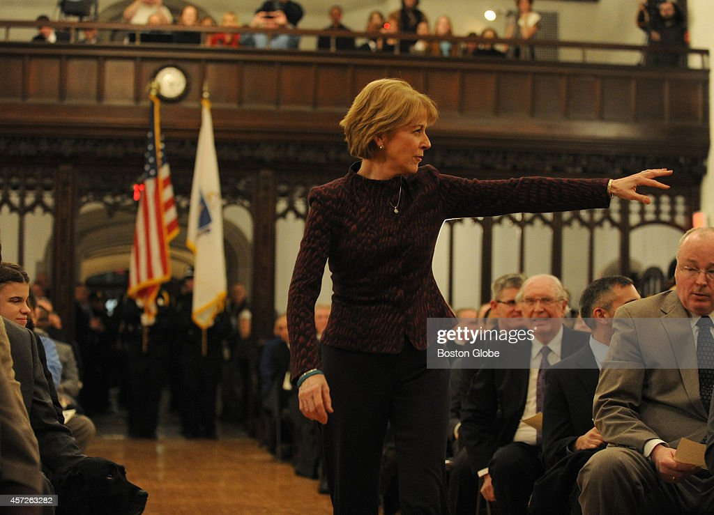 Massachusetts Attorney General Martha Coakley arrives to take the oath of office for her second term at the Perkins School for the Blind on January...