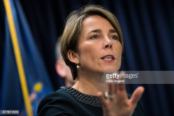 Massachusetts Attorney General Maura Healey speaks during a press conference at the office of the New York Attorney General July 19 2016 in New York...