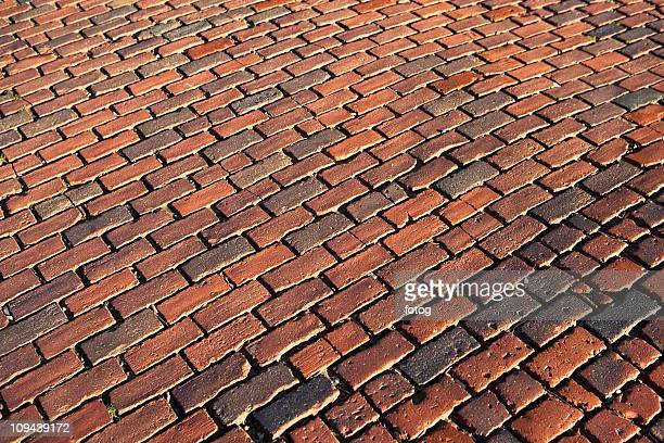 USA, Massachusetts, Boston, cobblestoned road